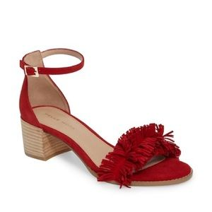 Pelle Moda April Fringe Block Heel Red Sandals